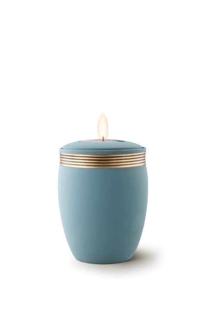 Mini urn cleo turkoois met herdenkingslichtje - keramiek