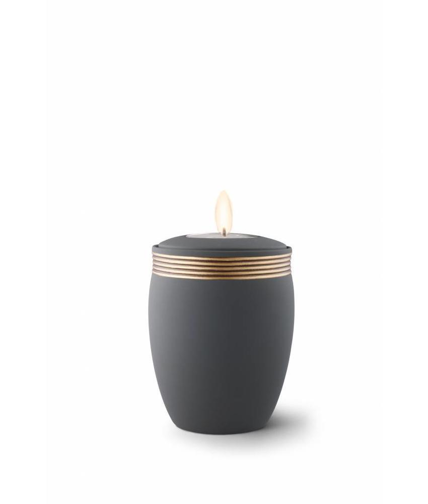 Mini urn cleo zwart met herdenkingslichtje - keramiek