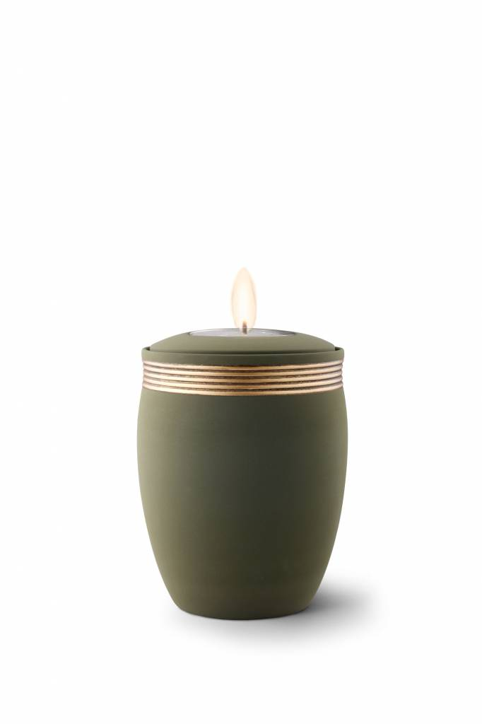 Mini urn cleo palmgroen met herdenkingslichtje - keramiek