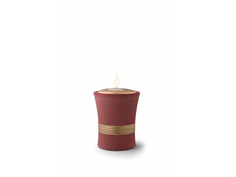 Mini urn luxor rood bruin met herdenkingslichtje - keramiek