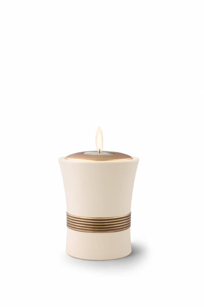 Mini urn luxor creme met herdenkingslichtje - keramiek