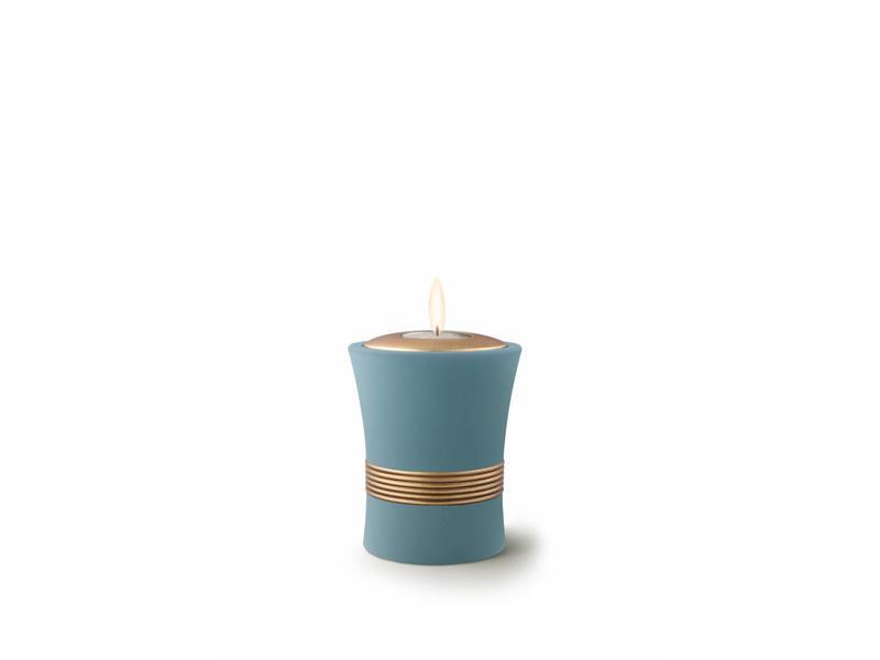 Mini urn luxor turkoois met herdenkingslichtje - keramiek