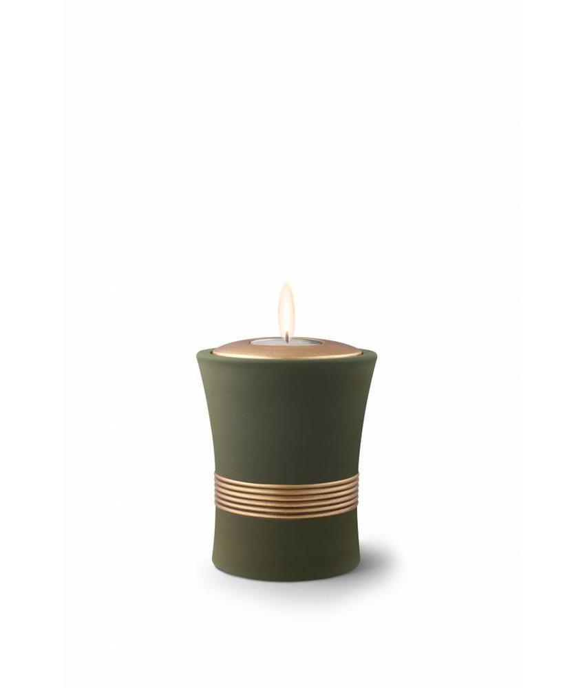 Mini urn luxor palmgroen met herdenkingslichtje - keramiek