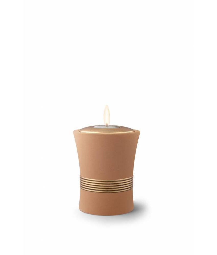 Mini urn luxor zandkleur met herdenkingslichtje - keramiek