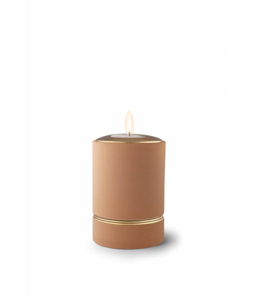 Mini asbus urn minion zandkleur met herdenkingslichtje - keramiek
