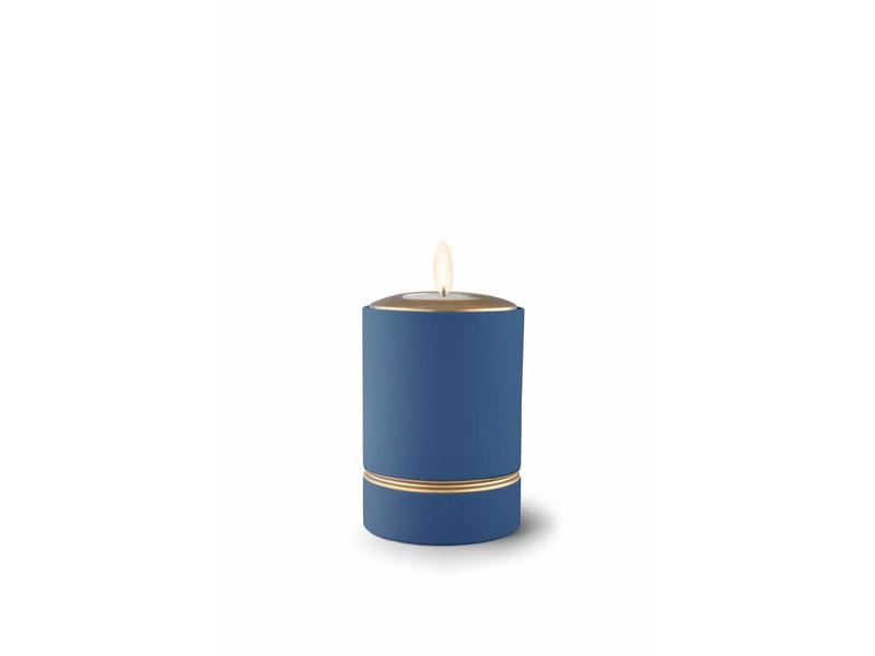 Mini asbus urn minion blauw met herdenkingslichtje - keramiek