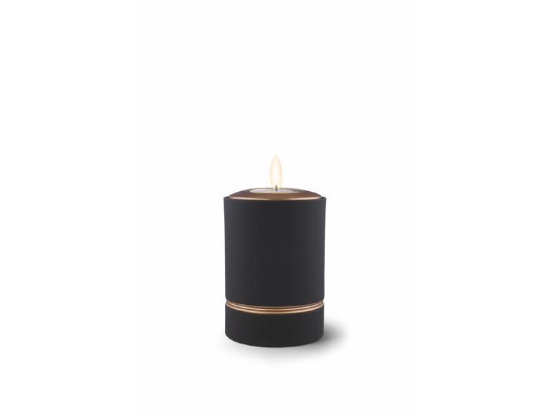 Mini asbus urn minion zwart met herdenkingslichtje - keramiek