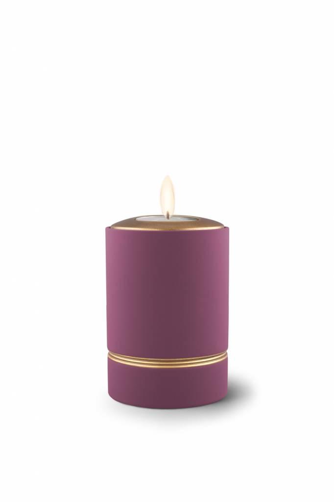 Mini asbus urn minion paars met herdenkingslichtje - keramiek