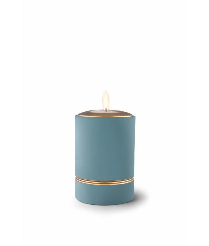 Mini asbus urn minion turkoois met herdenkingslichtje - keramiek