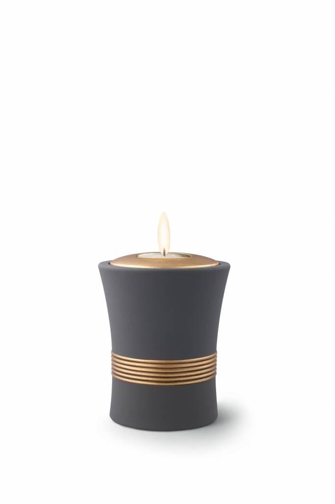 Mini urn luxor zwart met herdenkingslichtje - keramiek
