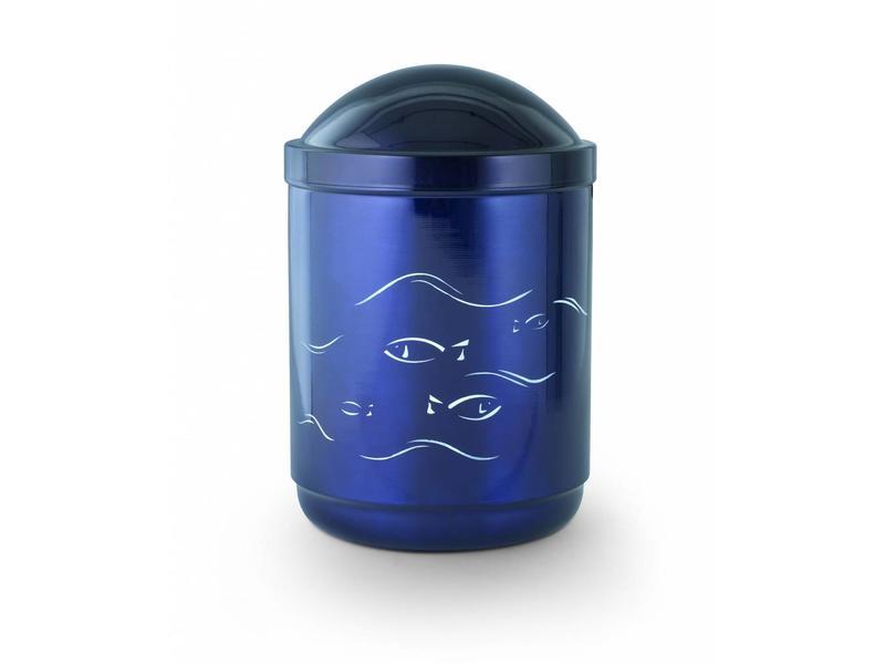 Vis urn kobaltblauw - staal