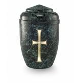 Kruis urn zwart groen - staal