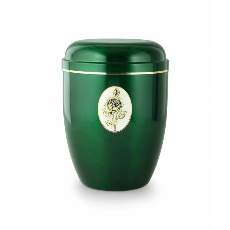 Groene rozen embleem urn - staal