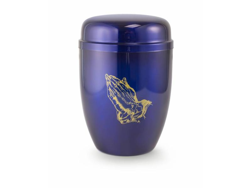 In gebed urn blauw - staal