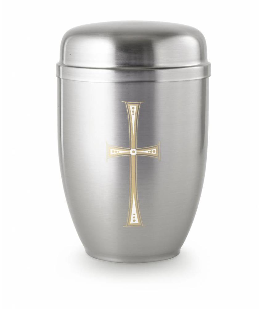 Bokaal urn zilver met kruis - staal