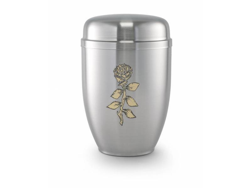 Bokaal urn zilver met roos - staal