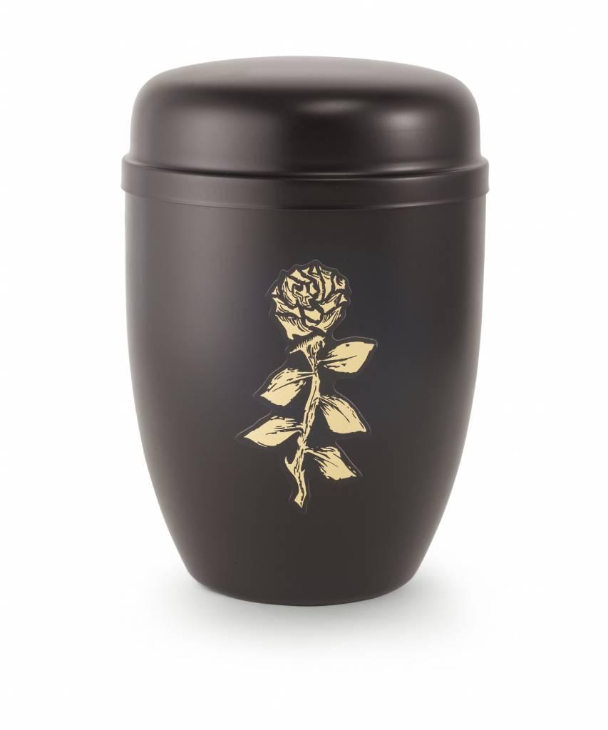 Bokaal urn zwart met roos - staal