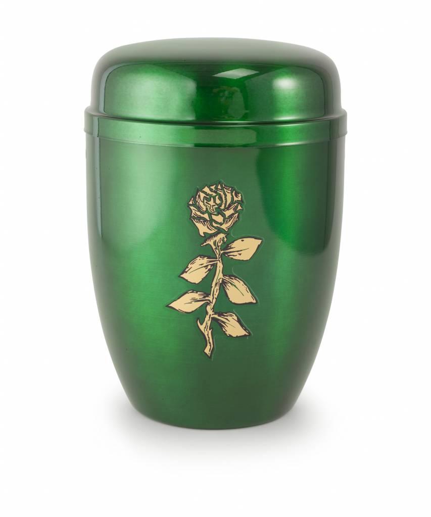 Bokaal urn groen met roos - staal