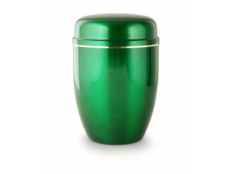 Bokaal urn groen met gouden sierstrip - staal