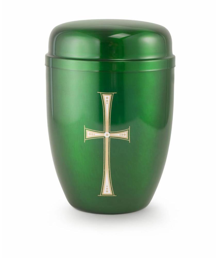 Bokaal urn groen met kruis - staal