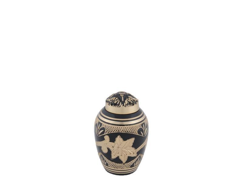 Zwarte toledo urn klein - messing