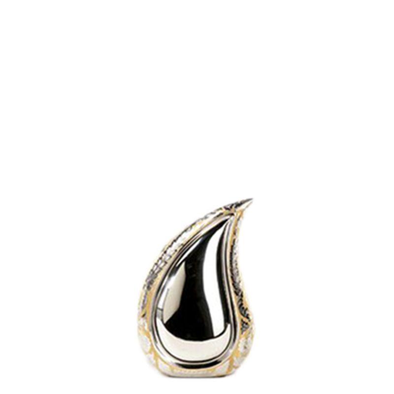 Teardrop urn mini zilver met goud - messing
