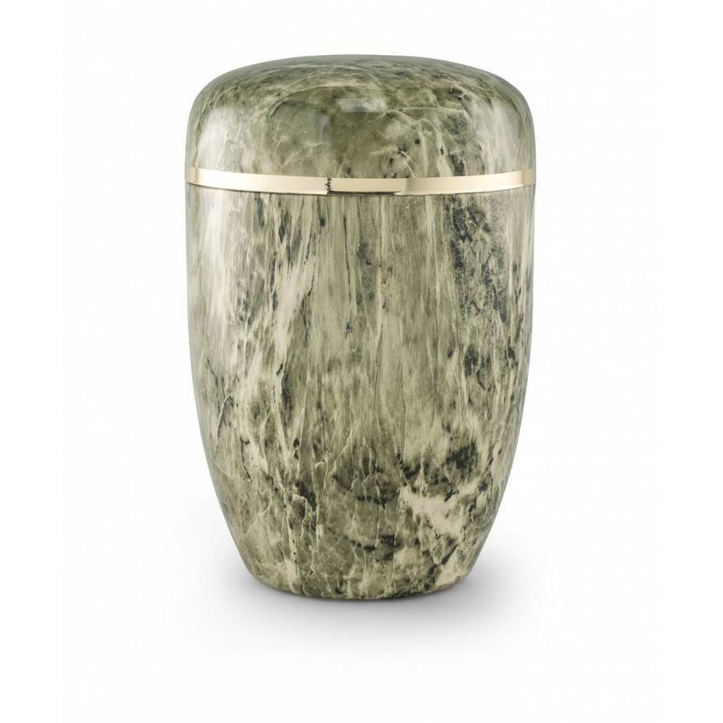 Bokaal urn groen en wit marmerlook - staal