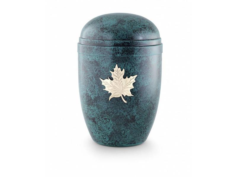 Bokaal urn blauw met eikenblad - staal