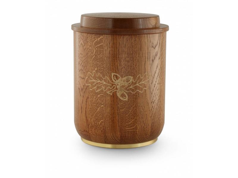 Eikenhout urn met eikenblad - hout