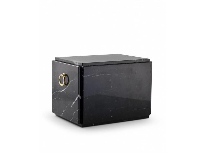 Sarcofaag urn zwart liggend - marmer