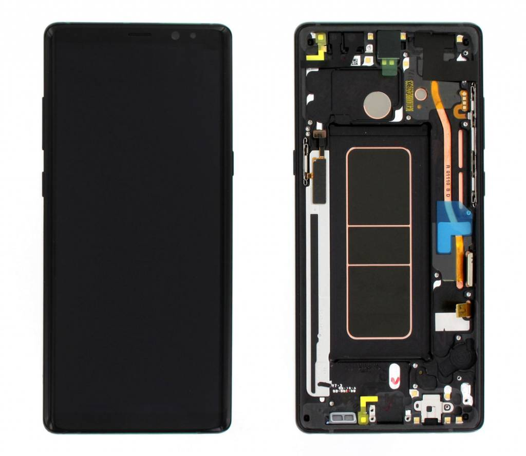 Samsung N950F Galaxy Note 8 LCD Display Module + Touch Screen Display + Frame, Zwart, GH97-21065A
