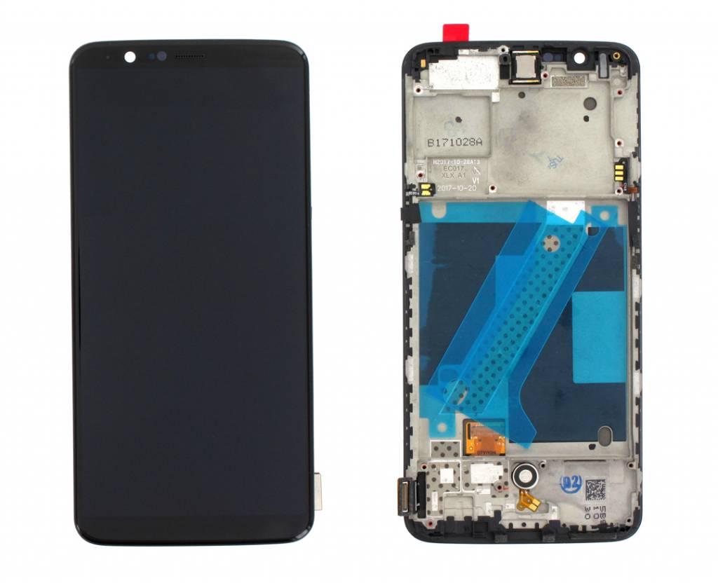OnePlus A5010 OnePlus 5T LCD Display Module, Zwart, Incl. Frame, OP5T-192180