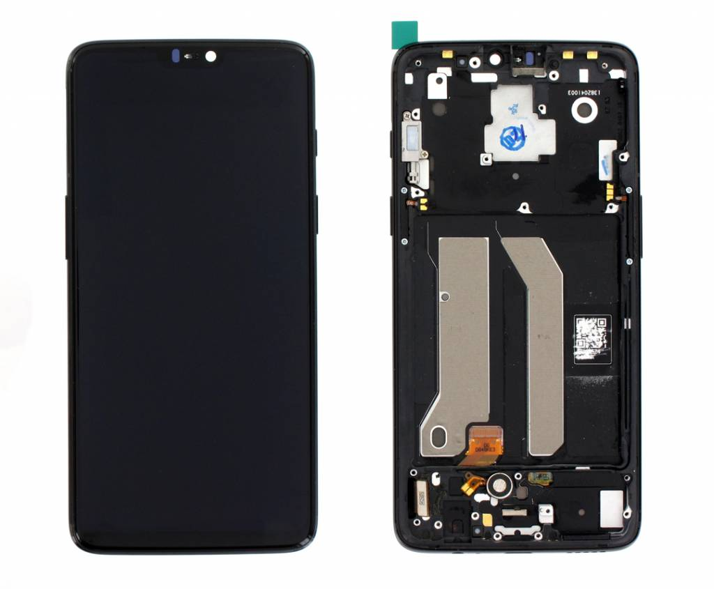 OnePlus A6003 OnePlus 6 LCD Display Module, Zwart, Incl. Frame, OP6-192197