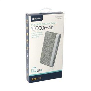 Platinet Power Bank 10000Mah Polymer Stoff Geflochten Light Grau [44243]