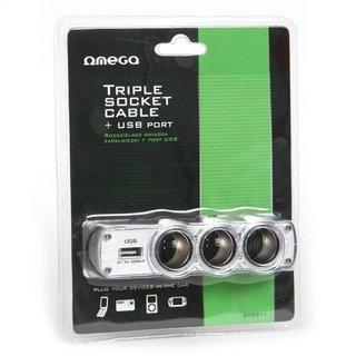 Omega Autolader / Sigarencontactkabel Met 1 USB Poorten 2.4A [44688]