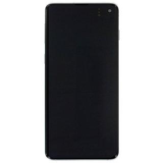 Samsung G973F Galaxy S10 LCD Display Modul, Prism White/Weiß, GH82-18850B;GH82-18835B