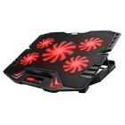 Omega Laptop Koeler Standaard - 5 Ventilatoren - Rode LED Verlichting - LCD Scherm met 5 Regelbare ventilator snelheid