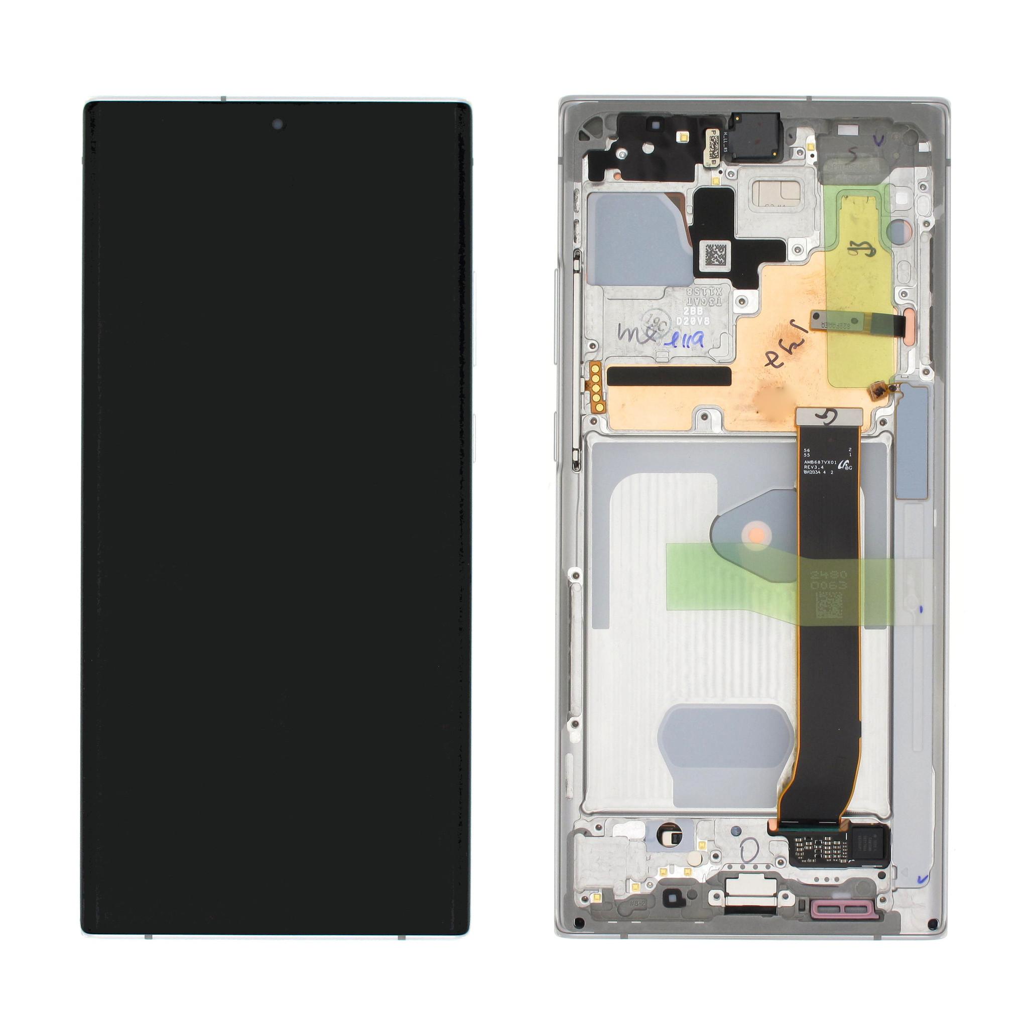 Samsung N986B Galaxy Note20 Ultra Display, Mystic White/Wit, GH82-23596C;GH82-23597C