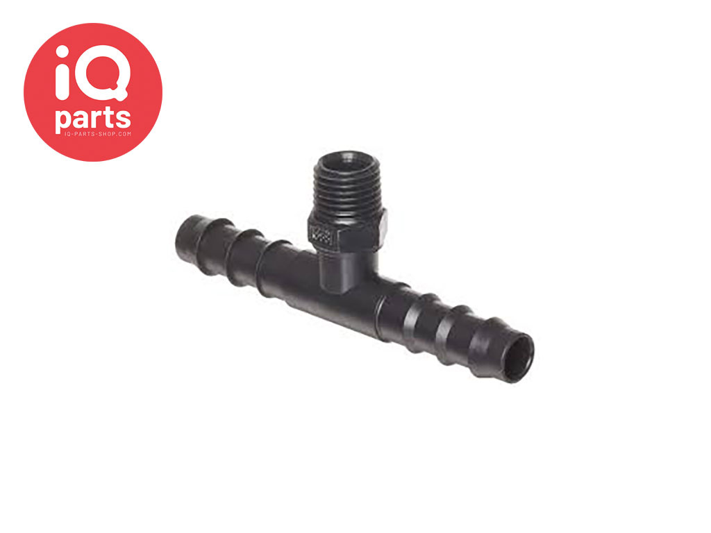 Plastic Male hose T-connector with external BSPT thread - Black