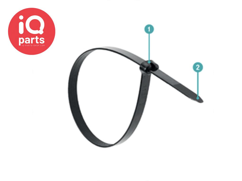 Kabelbinder Schwarz mit Edelstahlverschluss W4