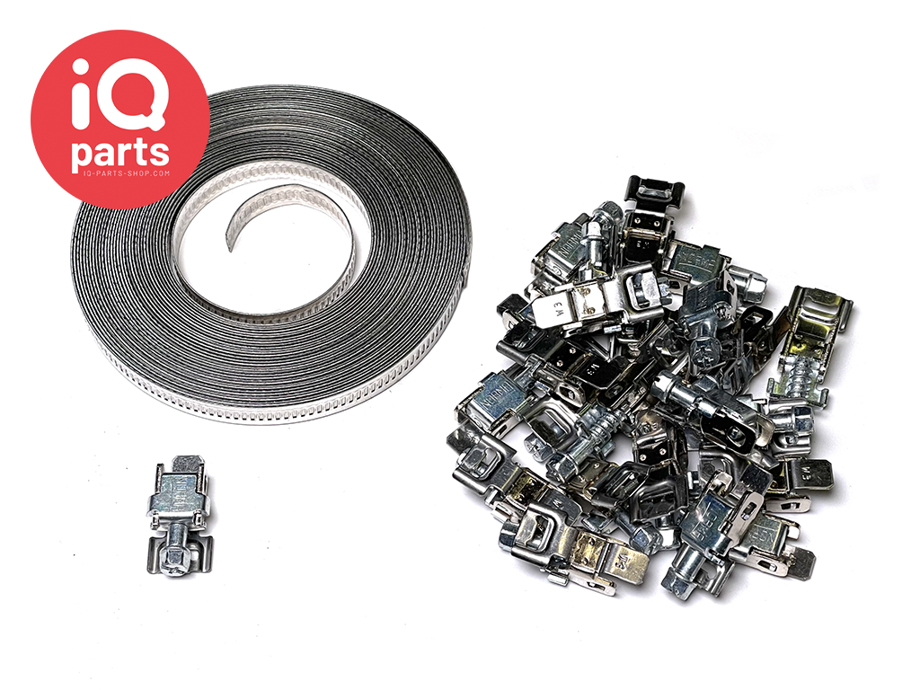 Hose Clamp  KIT - 10 mtr. band + 25 Housings - 9 mm Width W2 (AISI 430)
