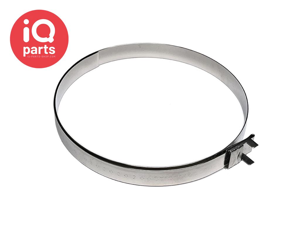 AISI 304 (V2a) 16 mm Breite Vorgefertigte Schellen mit L-Clip Ø 200 mm