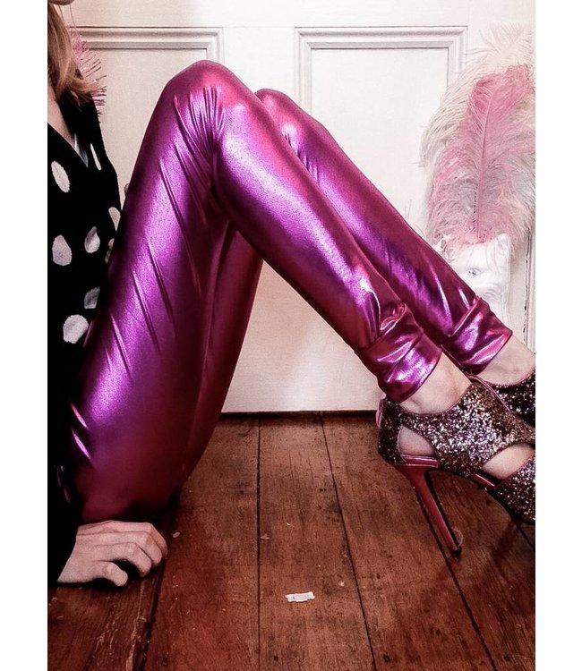 RE-LEGS Glamour Life paarse Metallic legging