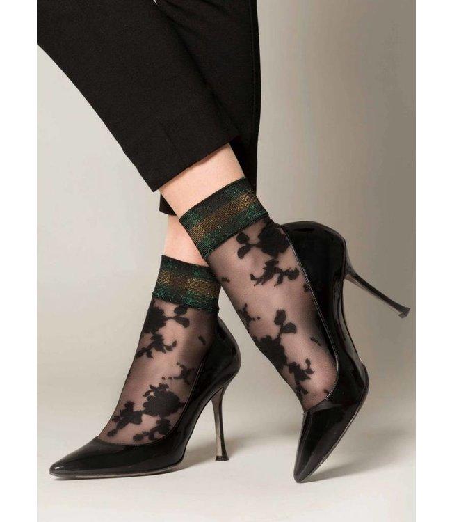 MARCMARCS Elegant Glitter Zwart/Groen sokjes