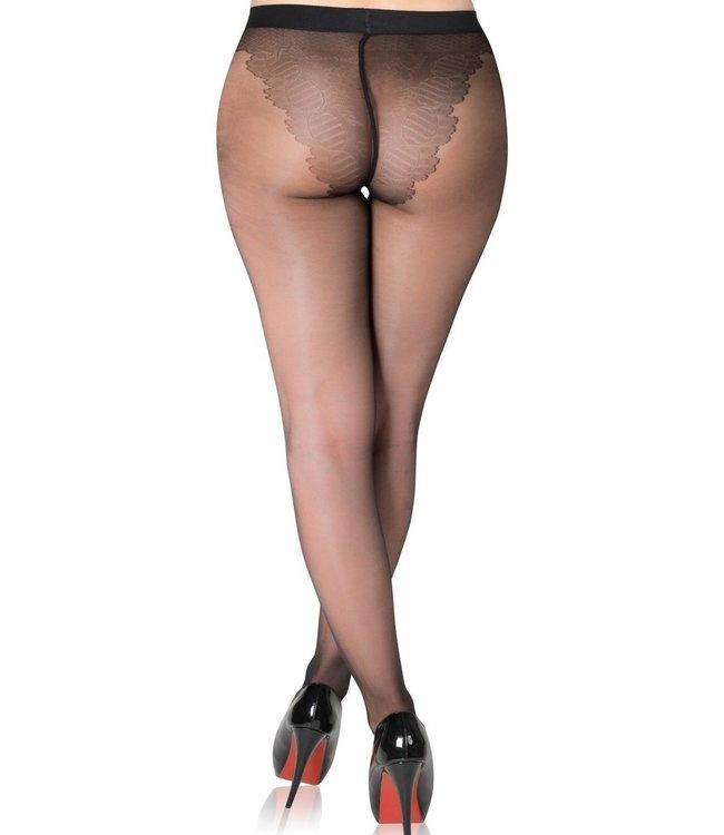 FIORE Klara 20 zwarte panty met slipmotief