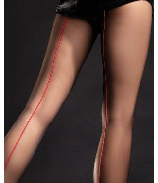 FIORE Unique 20 zwarte panty met rode naad