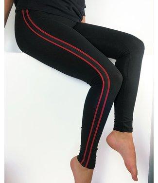 MARIANNE Stripe enkellegging zwart / rood