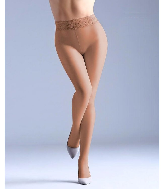 GIULIA Impresso 20 huidkleur panty met kanten taille
