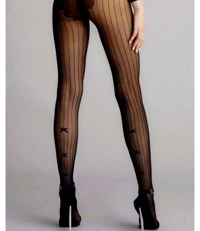 FIORE Adriana 30 zwarte streeppanty