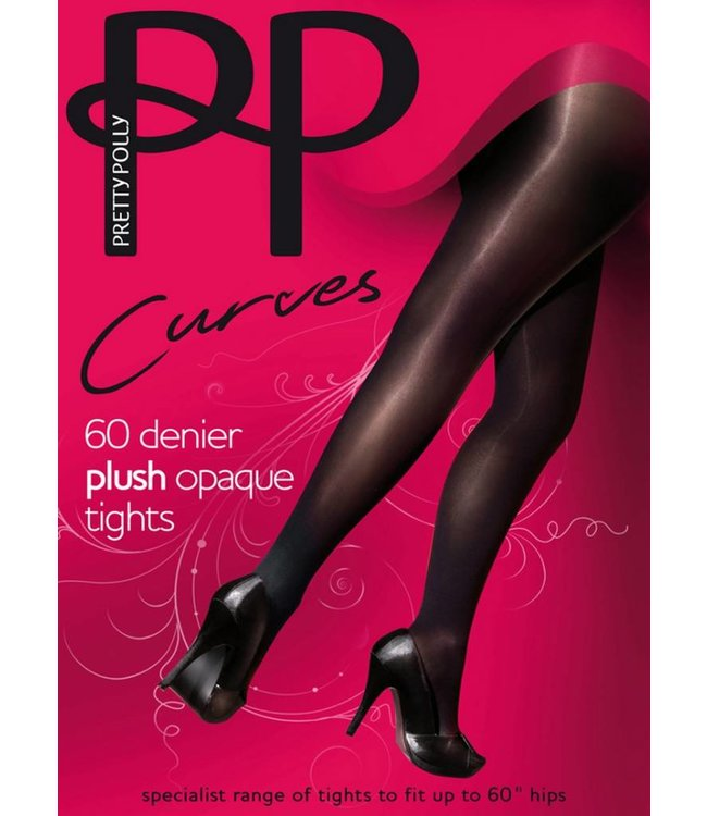 PRETTY POLLY Plush Curves 60 grote maat panty zwart